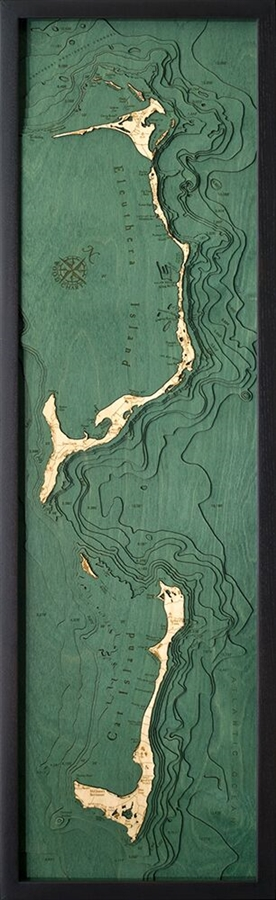 Eleuthera  Island Nautical Topographic Art: Bathymetric Real Wood Decorative Chart