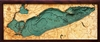 3D Lake Erie Nautical Real Wood Map Depth Decorative Chart