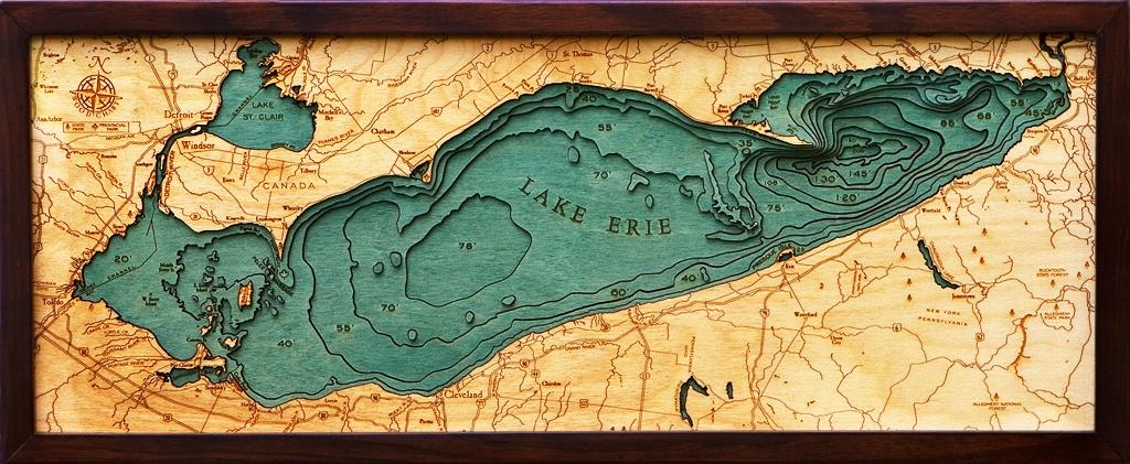 Lake Erie 3-D Nautical Wood Chart 13.5 x 31 Arbutus Lake Bottoms Map on