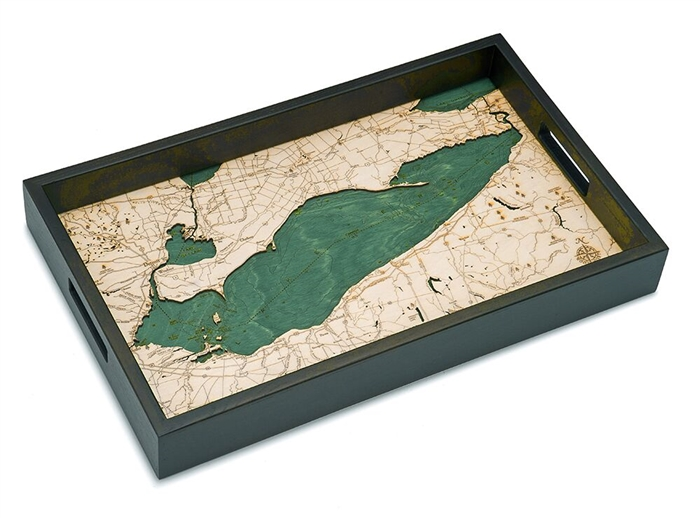 Lake Erie Nautical Real Wood Map Decorative Serving Tray