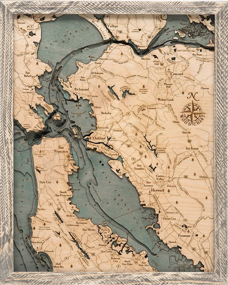 Custom Wood Charts Of The San Francisco Bay Area From Carved Lake Art Nautical Gifts Depth Charts These maps depict in detail ground relief (landforms and terrain), drainage (lakes and rivers), forest cover, administrative areas, populated areas, transportation routes and facilities. san francisco bay area 3 d nautical wood chart 16 x 20 rustic farm frame