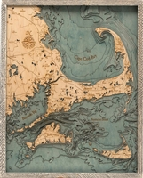 Cape Cod Nautical Topographic Art: Bathymetric Real Wood Decorative Chart Farm Frame
