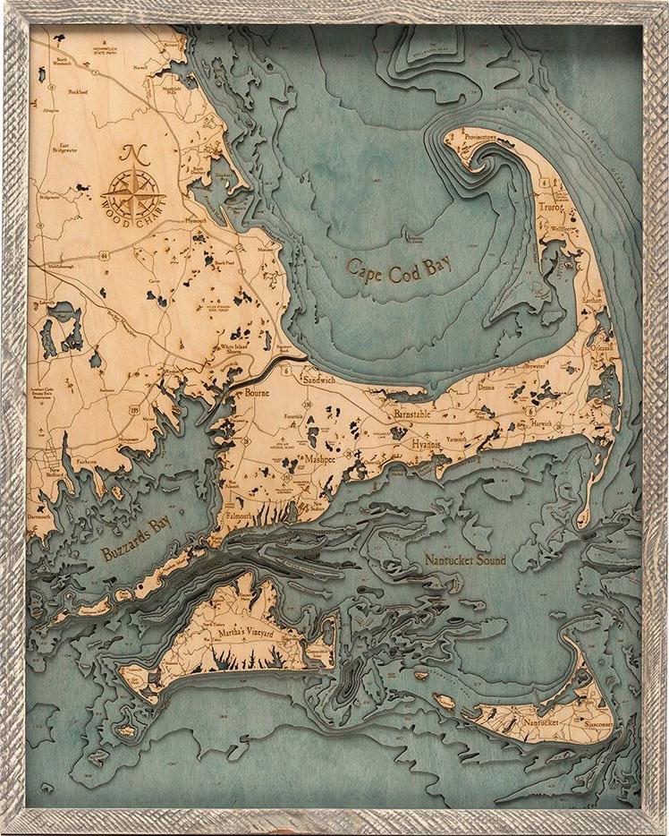 Custom Wood Charts Of Cape Cod From Carved Lake Art Nautical