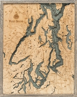 Puget Sound Nautical Topographic Art: Bathymetric Real Wood Decorative Chart