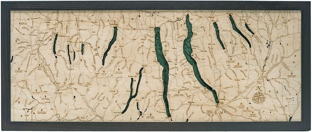 Map Of New York Finger Lakes Region.Finger Lakes 3 D Nautical Wood Chart 13 5 X 31