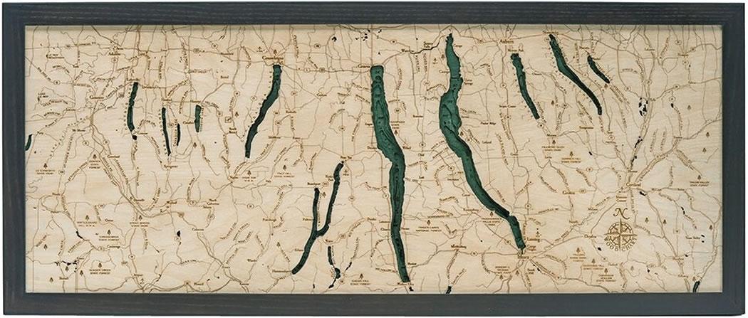 Finger Lakes 3-D Nautical Wood Chart 13.5 x 31