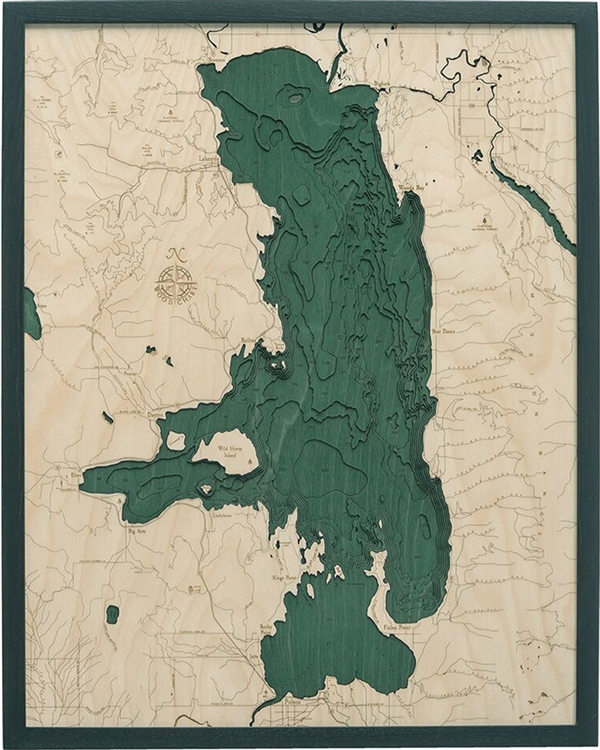 Flathead Lake Nautical Topographic Art: Bathymetric Real Wood Decorative Chart