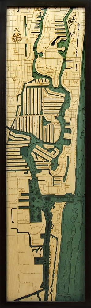 3D Fort Lauderdale Nautical Real Wood Map Depth Decorative Chart