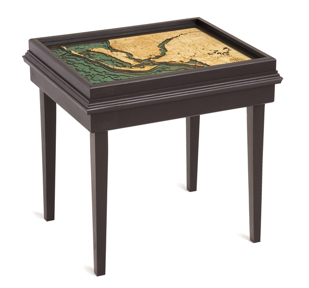 Ft. Myers and Cape Coral 3D Nautical Woodchart End Table