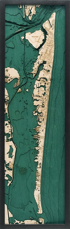Galveston Nautical Topographic Art: Bathymetric Real Wood Decorative Chart