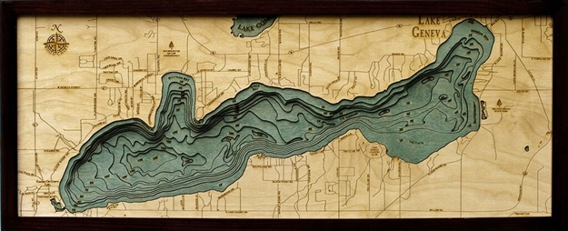 3D Geneva Lake Nautical Real Wood Map Depth Decorative Chart