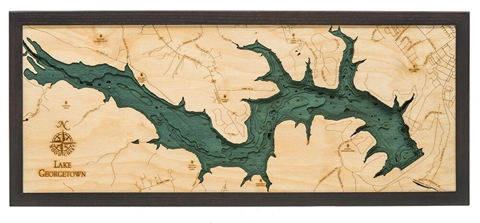 Lake Georgetown Nautical Topographic Art: Bathymetric Real Wood Decorative Chart