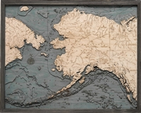 3D Alaska Nautical Real Wood Map Depth Decorative Chart | Driftwood Grey