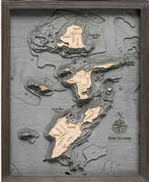 Bass Islands Nautical Topographic Art: Bathymetric Real Wood Decorative Chart Driftwood Grey Frame