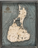 Custom Wood Charts of Block Island from Carved Lake Art: Nautical Gifts & Depth Charts New Driftwood Grey Frame