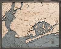 Brooklyn Nautical Topographic Art: Bathymetric Real Wood Decorative Chart | Driftwood Grey
