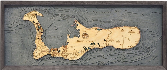 3D Grand Cayman Island Nautical Real Wood Map Depth Decorative Chart | Driftwood Grey