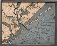 Charleston Nautical Topographic Art: Bathymetric Real Wood Decorative Chart | Driftwood Grey