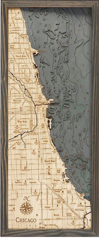 3D Chicago Nautical Real Wood Map Depth Decorative Chart Driftwood Grey