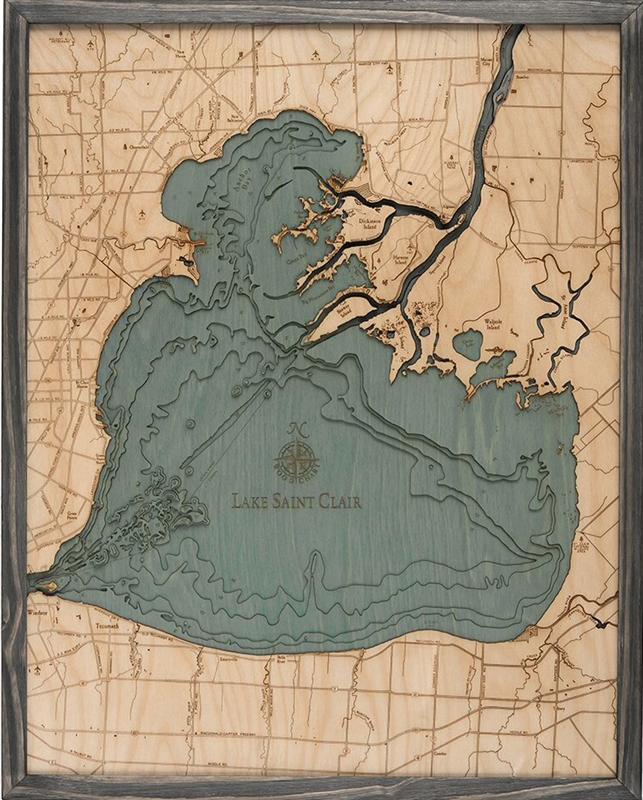 Lake St. Clair Nautical Topographic Art: Driftwood Grey