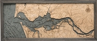 3D Columbia River Mouth Nautical Real Wood Map Depth Decorative Chart | Driftwood Grey Frame