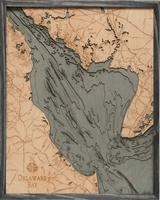 Delaware Bay Nautical Topographic Art: Bathymetric Real Wood Decorative Chart | Driftwood Grey
