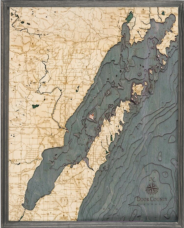 Door County Nautical Topographic Art: Bathymetric Real Wood Decorative Chart | Driftwood Grey