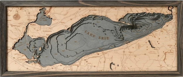 3D Lake Erie Nautical Real Wood Map Depth Decorative Chart Driftwood Grey