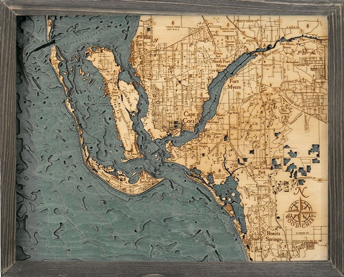 Fort Myers and Cape Coral Nautical Topographic Art: Bathymetric Real Wood Decorative Chart