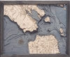 3D Golden Gate / San Francisco Nautical Real Wood Map Depth Decorative Chart | Driftwood Grey