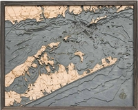 3D Long Island Sound Nautical Real Wood Map Depth Decorative Chart | Driftwood Grey