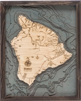 3D Hawaii The Big Island Nautical Real Wood Map Depth Decorative Chart | Driftwood Grey