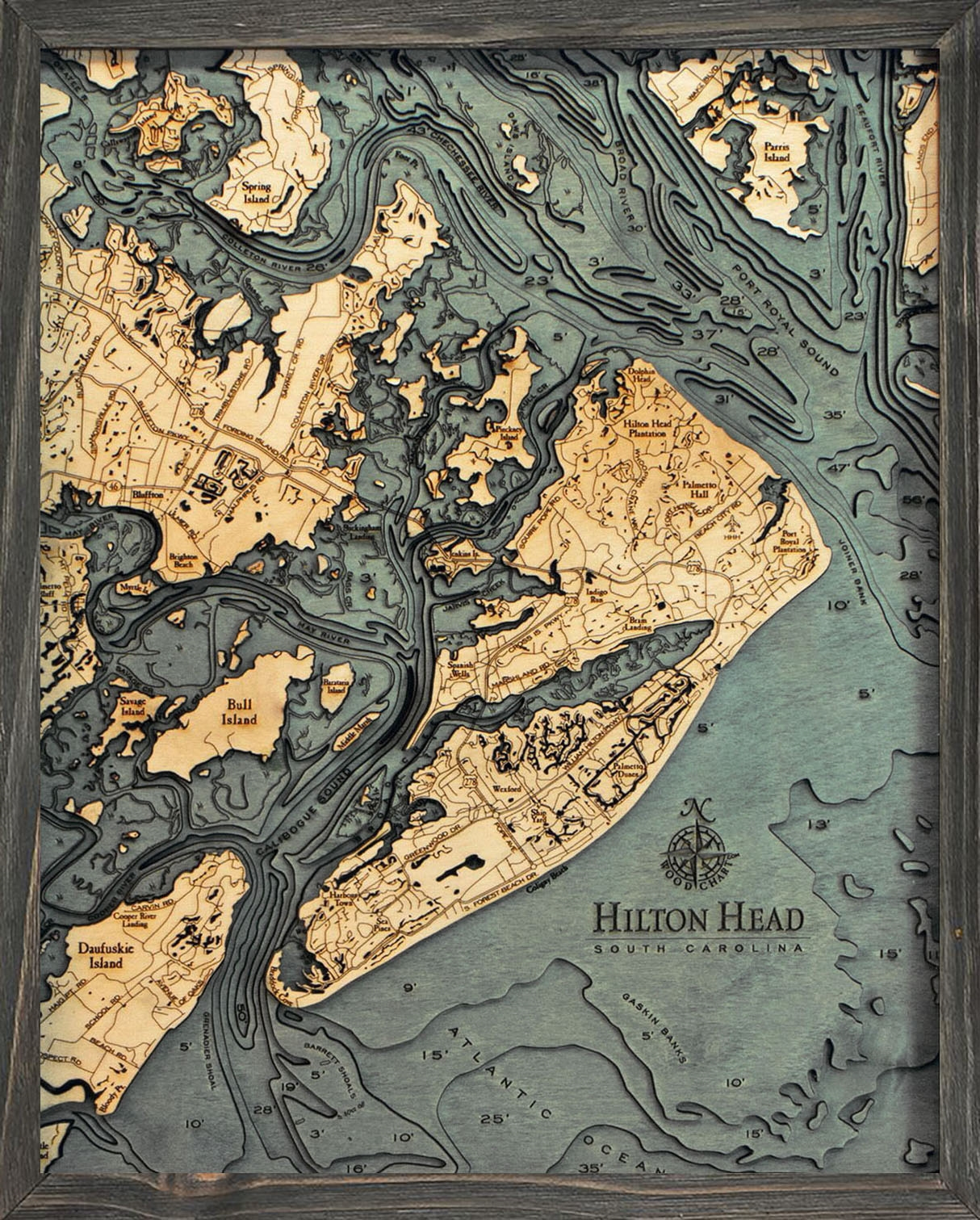 Custom Depth Map Of Hilton Head Island Sc Carved Lake