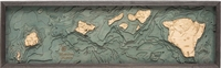 3D Hawaiian Islands Nautical Real Wood Map Depth Decorative Chart | Driftwood Grey