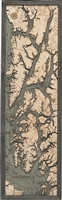 3D Inside Passage Nautical Real Wood Map Depth Decorative Chart | Driftwood Grey