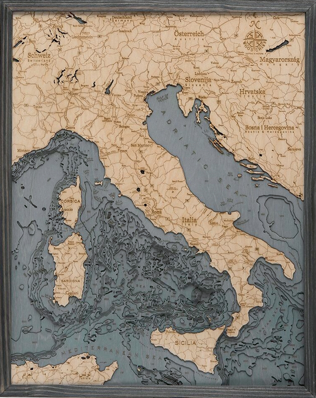 Italy 3D  Nautical Real Wood Map Depth Decorative Chart | Driftwood Grey