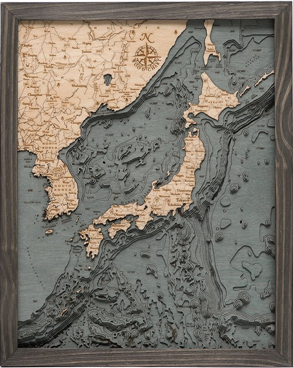 Japan Nautical Topographic Art: Bathymetric Real Wood Decorative Chart | Driftwood Grey