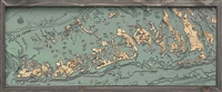 3D Florida Keys Nautical Real Wood Map Depth Decorative Chart