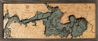 Lake Livingston Nautical Topographic Art: Bathymetric Real Wood Decorative Chart