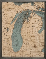 Lake Michigan Nautical Topographic Art: Bathymetric Real Wood Decorative Chart | Driftwood Grey Frame