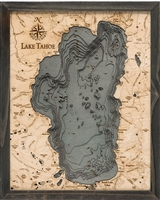 Lake Tahoe Nautical Topographic Art: Bathymetric Real Wood Decorative Chart | Driftwood Grey Frame