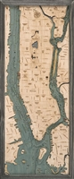 3D Manhattan and Long Island Nautical Real Wood Map Depth Decorative Chart | Driftwood Grey Frame