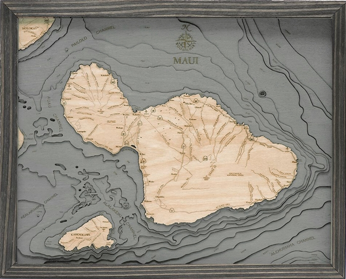 Island of Maui Nautical Topographic Art: Bathymetric Real Wood Decorative Chart | Driftwood Grey