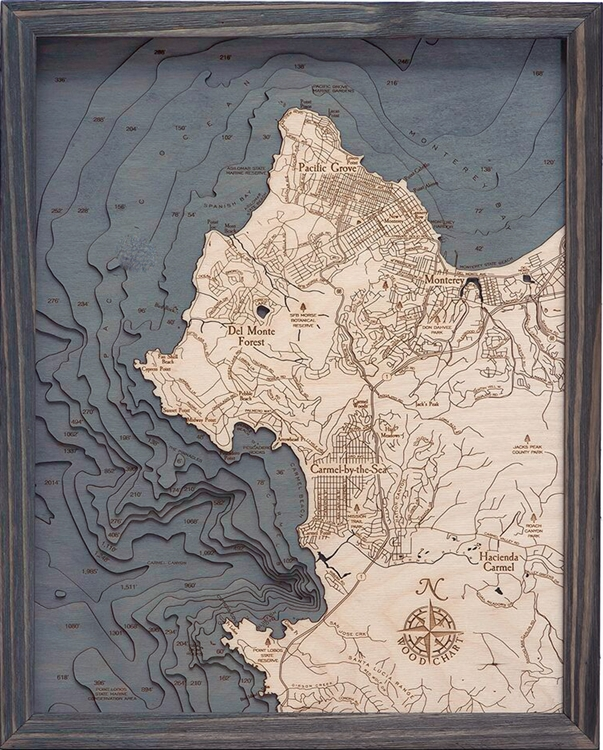 3D Carmel-by-the-Sea Nautical Real Wood Map Depth Decorative Chart | Driftwood Grey
