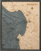 Monterey Bay Nautical Topographic Art: Bathymetric Real Wood Decorative Chart | Driftwood Grey Frame