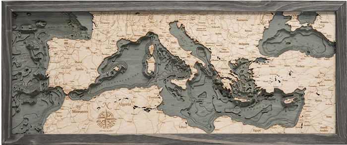 3D Mediterranean Sea Nautical Real Wood Map Depth Decorative Chart | Driftwood Grey