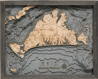 3D Martha's Vineyard Nautical Real Wood Map Depth Decorative Chart Driftwood Grey Edition