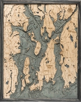 Narragansett Bay and Newport Nautical Topographic Art: Bathymetric Real Wood Decorative Chart | Driftwood Grey Frame