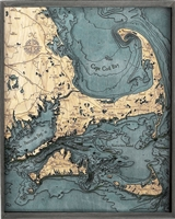 Cape Cod Nautical Topographic Art: Bathymetric Real Wood Decorative Chart | Driftwood Grey