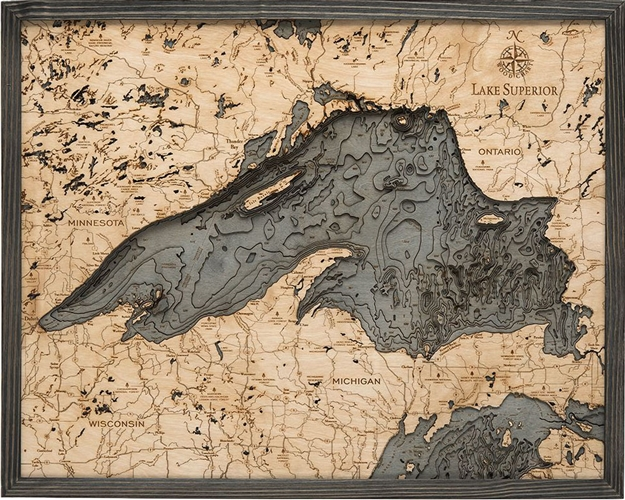 3D Lake Superior Nautical Real Wood Map Depth Decorative Chart | Driftwood Grey